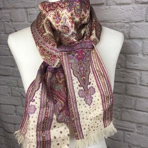 Paisley Print Pink and Cream Scarf